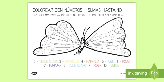 La mariposa de la pequeña oruga glotona: Las sumas hasta 10