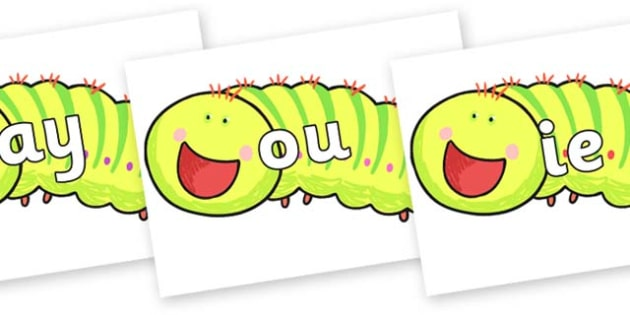 Phase 5 Phonemes on Crunching Munching Caterpillar to Support Teaching on The Crunching Munching Caterpillar - Phonemes, phoneme, Phase 5, Phase five, Foundation, Literacy, Letters and Sounds, DfES, display