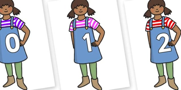 Numbers 0-31 on Enormous Turnip Girl - 0-31, foundation stage numeracy, Number recognition, Number flashcards, counting, number frieze, Display numbers, number posters