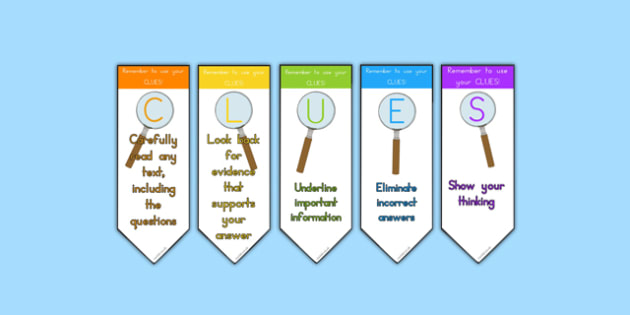 Use Your CLUES Strategy Bookmark - Common Core, Testing, Strategy