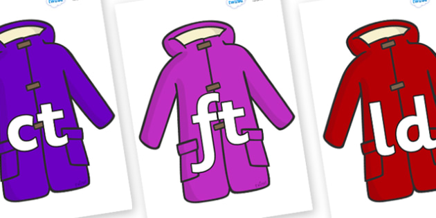 Final Letter Blends on Coats - Final Letters, final letter, letter blend, letter blends, consonant, consonants, digraph, trigraph, literacy, alphabet, letters, foundation stage literacy