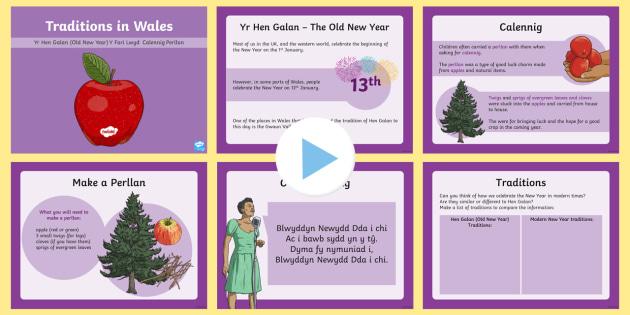 Welsh Traditions: The Old New Year Hen Galan PowerPoint - new year, welsh traditions, y fari lwyd, new year, calennig, perllan, blwyddyn newydd dda, Cymraeg, iaith, Mari Lwyd,Welsh