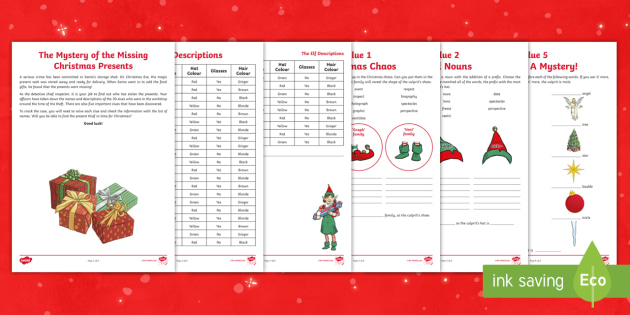 LKS2 The Mystery of the Missing Christmas Presents SPAG Game - Year 3, Year 4, Y3, Y4, Y3/4, spelling, grammar, punctuation, word families, noun, prefix, direct sp