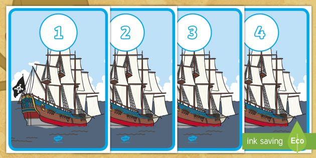 Pirate Ship Number Line Posters - pirates, pirate ship, number line