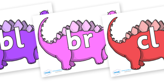 Initial Letter Blends on Stegosaurus - Initial Letters, initial letter, letter blend, letter blends, consonant, consonants, digraph, trigraph, literacy, alphabet, letters, foundation stage literacy