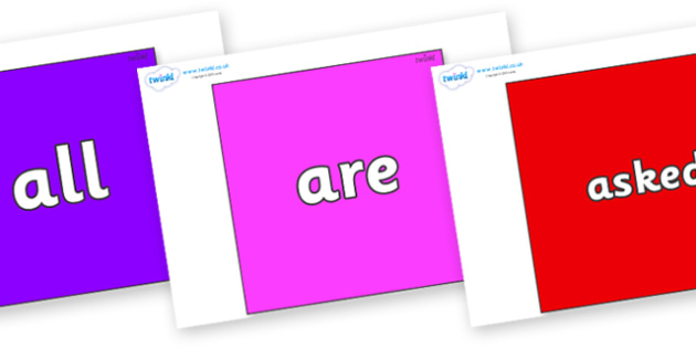 Tricky Words on Squares - Tricky words, DfES Letters and Sounds, Letters and sounds, display, words