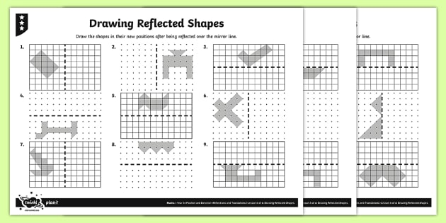 Drawing Reflected Shapes Differentiated Activity Sheets - Position and Direction, reflection, symmetry, reflective symmetry, mirror line, congruent, congruence