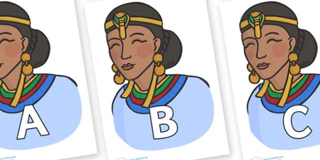 A-Z Alphabet on Egyptian Women - A-Z, A4, display, Alphabet frieze, Display letters, Letter posters, A-Z letters, Alphabet flashcards