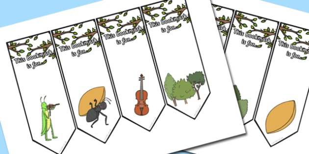 The Ant and the Grasshopper Editable Bookmarks - award, reading