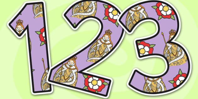 Elizabeth I Themed A4 Display Numbers-Elizabeth I, themed, A4, display numbers, display, numbers, numbers for display, Elizabeth I display, history display
