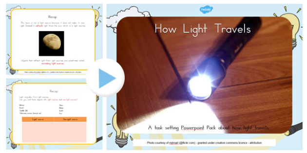 How Light Travels Differentiated Lesson Teaching Pack - australia