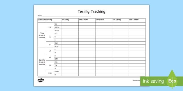 EYFS Individual Termly Tracking Sheet FS2 - EYFS, track sheet