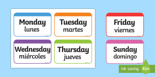picture about Spanish to English Flashcards With Pictures Printable titled Times of the 7 days Flashcards English/Spanish - Times of the