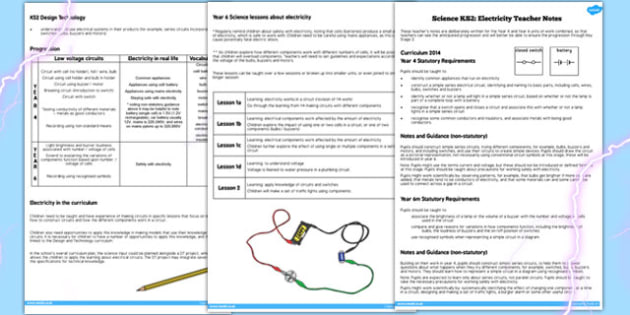 Year 4 Electricity Unit Teacher Note - KS2, KS2 science, electric
