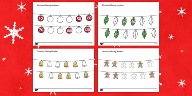 Christmas Missing Numbers Counting in 2s, 3s, 5s, and 10s Worksheet / Activity Sheet - christmas, missing numbers, activity, sheet, worksheet