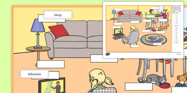 At Home Keyword Matching Activity - matching, language development, keywords, expressive skills, first words