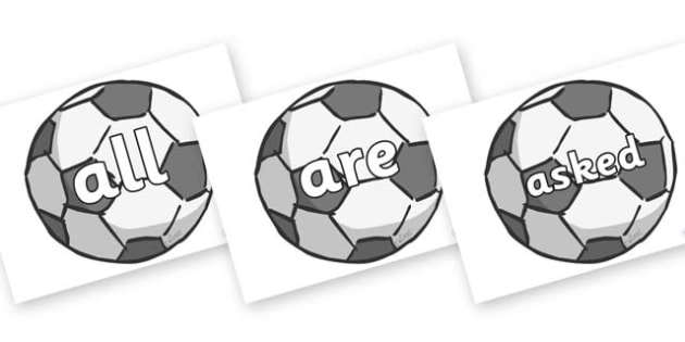 Tricky Words on Footballs - Tricky words, DfES Letters and Sounds, Letters and sounds, display, words