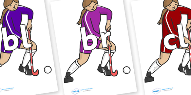 Initial Letter Blends on Hockey Players - Initial Letters, initial letter, letter blend, letter blends, consonant, consonants, digraph, trigraph, literacy, alphabet, letters, foundation stage literacy