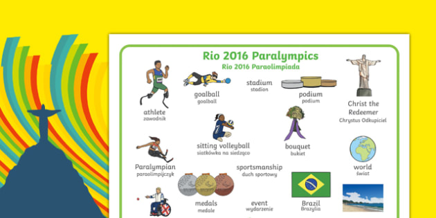 Rio Paralympics 2016 Word Mat Polish Translation - Paralympics, Rio 2016, Brazil, Key vocabulary, Literacy, English, key words, Spelling support, Disability Awareness, Sporting Events