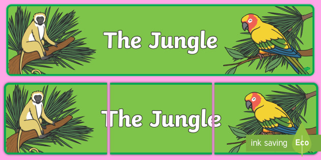 The Jungle Display Banner (Plain) - Jungle, Rainforest, Topic, Display, Posters, Freize, vines, A4, display, snake, forest, ecosystem, rain, humid, parrot, monkey, gorilla