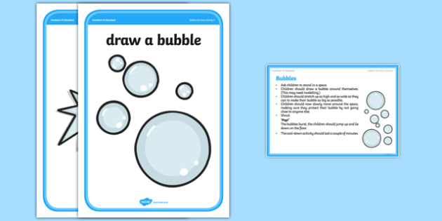 Foundation PE (Reception) Bubbles Cool-Down Activity Card - physical activity, foundation stage, physical development, games, dance, gymnastics