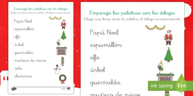 La Navidad Ficha de emparejar palabra con dibujo - navidad, navideño, vocabulario, Spanish