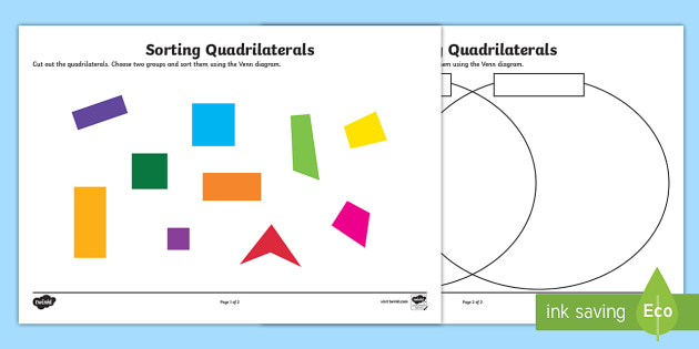 Sorting Quadrilaterals Worksheet / Activity Sheet - sorting