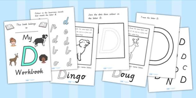 My Workbook D uppercase - letter formation, fine motor skills