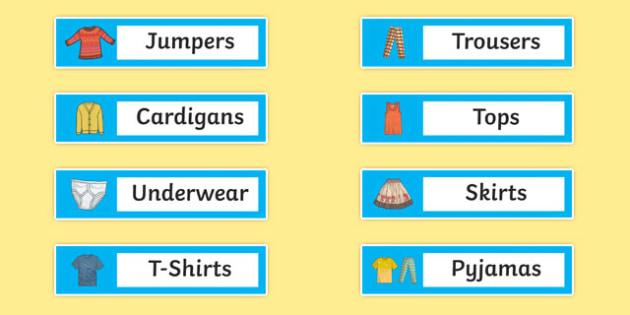 Clothes Tray Labels - clothes, tray, labels, clothes tray, tray labels, clothes labels, tray tags, clothes names, tray names, themed trays, name labels
