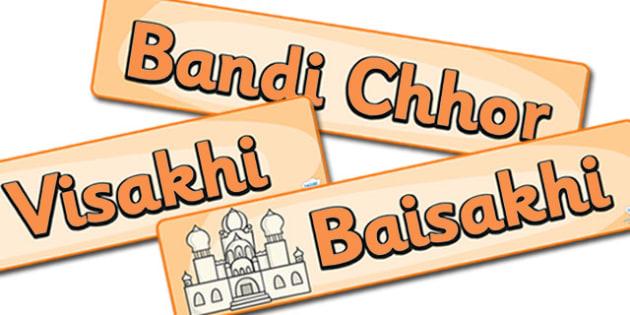 Sikhism Celebration Display Banner Pack - Sikhism, hindu, religion, faith, sikh, temple, RE