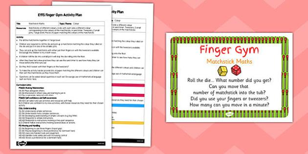 EYFS Matchstick Maths Finger Gym Activity Plan and Prompt Card Pack