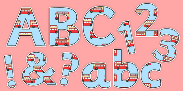 Red London Bus Transport Themed Display Lettering - display lettering, transport, bus
