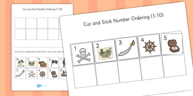 Pirate Themed Cut and Stick Number Ordering Sheets 1-10 - pirate