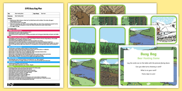 EYFS Bear Hunting Game Busy Bag Plan and Resource Pack