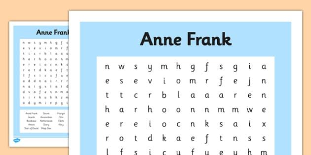 Anne Frank Word Search - anne frank, world war 2, nazi, germany, jewish