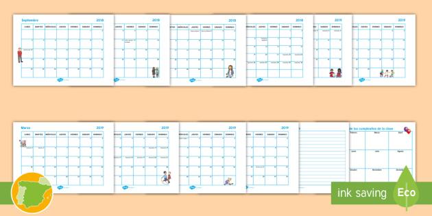 Calendario 2018 2019.Calendario Escolar 2018 2019 Con Agenda Calendarios