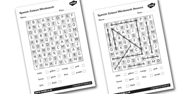 Spanish Colours Wordsearch - worksheets colour Spain search
