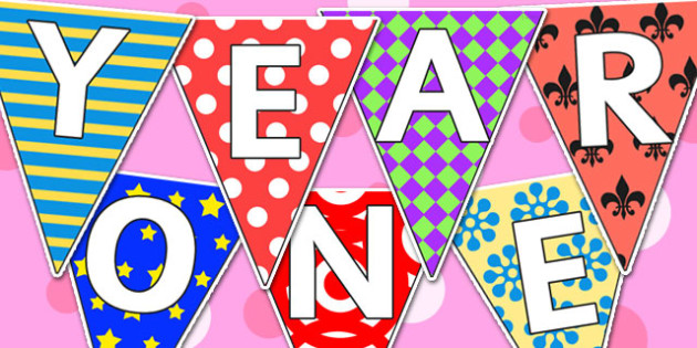 Welcome to Year One Bunting Pretty Pattern Themed - year one, welcome to year one, bunting, themed bunting, display bunting, bunting flags, flag bunting