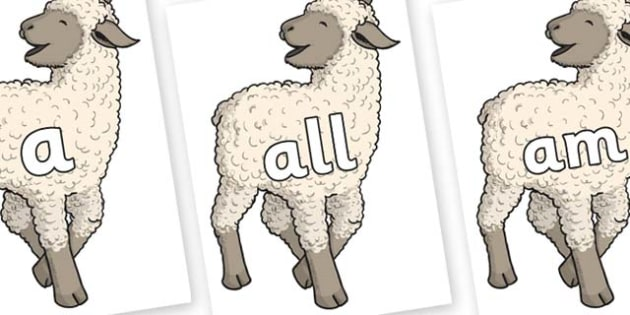 Foundation Stage 2 Keywords on Lamb - FS2, CLL, keywords, Communication language and literacy,  Display, Key words, high frequency words, foundation stage literacy, DfES Letters and Sounds, Letters and Sounds, spelling