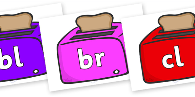 Initial Letter Blends on Toasters - Initial Letters, initial letter, letter blend, letter blends, consonant, consonants, digraph, trigraph, literacy, alphabet, letters, foundation stage literacy