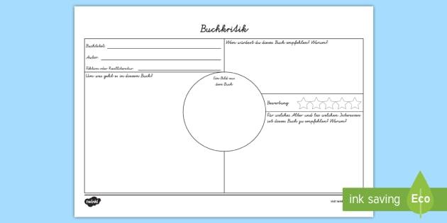 Buchkritik Arbeitsblatt - Lesen, Buchrezension, Bücher