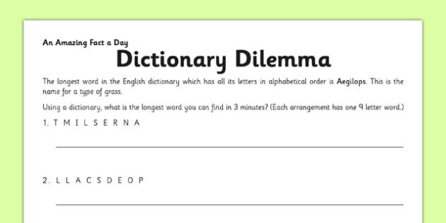 Dictionary Dilemma Activity Sheet - dictionary, countdown, dilemma, activity, worksheet