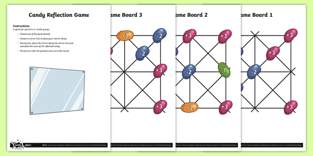 Candy Reflection Game - Position and Direction, reflection, reflective symmetry, mirror line