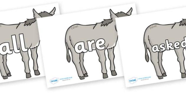 Tricky Words on Donkeys - Tricky words, DfES Letters and Sounds, Letters and sounds, display, words