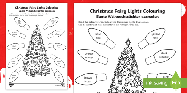 christmas fairy lights worksheet activity sheet english german. Black Bedroom Furniture Sets. Home Design Ideas