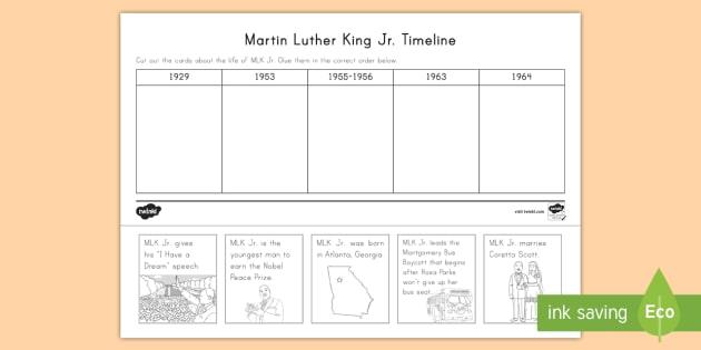 Martin Luther King Jr Timeline Worksheet Activity Sheet