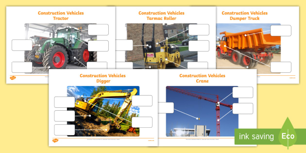 Building Site Construction Vehicles Photo Labelling Activity Pack - building site, construction vehicles, photo, labelling, activity, pack
