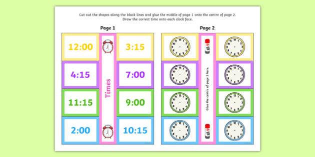 Time Writing Clocks Foldable Visual Aid Quarter to and Quarter Past - time, writing, clocks, foldable, visual aid, quarter to, quarter past