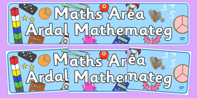 Maths Area Sign Welsh Translation - welsh, cymraeg, Foundation Phase, Maths Area, Nursery Reception