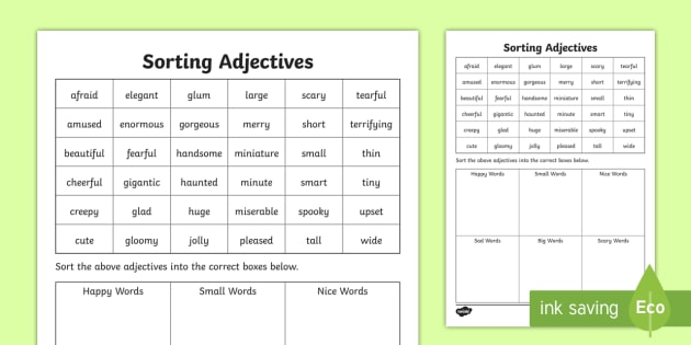 Sorting Adjectives Worksheet - grammar, descriptive, words ...